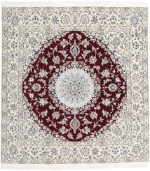 ナイン 9La 絨毯 198X207 オリエンタル 手織り 正方形 薄い灰色/ベージュ (ウール/絹, ペルシャ/イラン)