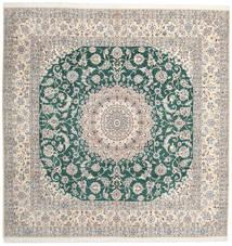 ナイン 9La 絨毯 302X304 オリエンタル 手織り 正方形 薄い灰色/ベージュ 大きな (ウール/絹, ペルシャ/イラン)