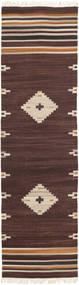 Tribal - 茶 絨毯 80X300 モダン 手織り 廊下 カーペット 濃い茶色/ベージュ (ウール, インド)
