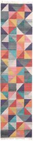 Caleido 絨毯 80X250 モダン 手織り 廊下 カーペット 濃いグレー/ライトピンク (ウール, インド)