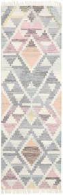 Mandali 絨毯 80X250 モダン 手織り 廊下 カーペット 薄い灰色/ベージュ (ウール, インド)