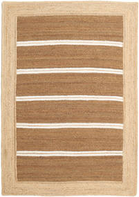 屋外カーペット Frida Stripe - 茶 絨毯 160X230 モダン 手織り 暗めのベージュ色の/ベージュ/薄茶色 ( インド)