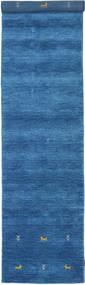 ギャッベ ルーム Two Lines - 青 絨毯 80X350 モダン 廊下 カーペット 青/紺色の (ウール, インド)