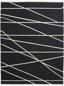 Cross Lines - 黒/オフホワイト 絨毯 200X300 モダン 手織り 黒 (ウール, インド)