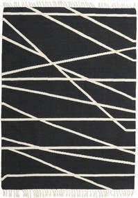 Cross Lines - 黒/オフホワイト 絨毯 160X230 モダン 手織り 濃いグレー/ベージュ (ウール, インド)