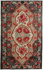 薔薇 キリム Moldavia 絨毯 191X317 オリエンタル 手織り 深紅色の/黒 (ウール, モルドバ)