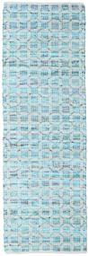Elna - Bright_Blue 絨毯 80X250 モダン 手織り 廊下 カーペット 水色/ターコイズブルー (綿, インド)