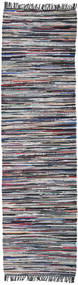 Cottolina - 黒/Multi 絨毯 80X400 モダン 手織り 廊下 カーペット 薄い灰色/濃いグレー (綿, インド)