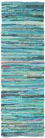 Ronja - グリーン Mix 絨毯 80X350 モダン 手織り 廊下 カーペット ターコイズブルー/ターコイズブルー (綿, インド)