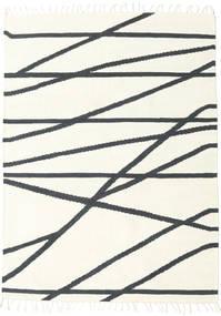 Cross Lines - オフホワイト/黒 絨毯 160X230 モダン 手織り ベージュ/濃いグレー (ウール, インド)