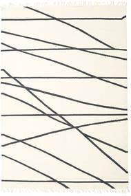 Cross Lines - オフホワイト/黒 絨毯 250X350 モダン 手織り ベージュ/ホワイト/クリーム色 大きな (ウール, インド)
