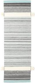 Fenix - ターコイズ 絨毯 80X350 モダン 手織り 廊下 カーペット 薄い灰色/水色 (ウール, インド)