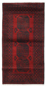 アフガン 絨毯 103X193 オリエンタル 手織り 深紅色の/黒 (ウール, アフガニスタン)