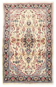 ケルマン 絨毯 88X140 オリエンタル 手織り 薄茶色/ベージュ (ウール, ペルシャ/イラン)