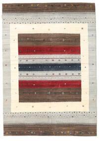 ギャッベ Loribaft 絨毯 165X236 モダン 手織り 薄い灰色/深紅色の/ベージュ (ウール, インド)