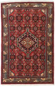 アサダバード 絨毯 79X127 オリエンタル 手織り 濃い茶色/深紅色の (ウール, ペルシャ/イラン)