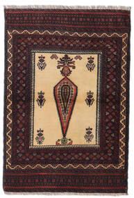 バルーチ 絨毯 88X126 オリエンタル 手織り 深紅色の/濃い茶色 (ウール, ペルシャ/イラン)