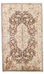 カシミール ピュア シルク 絨毯 78X127 オリエンタル 手織り ベージュ/薄茶色 (絹, インド)