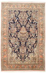 カシミール ピュア シルク 絨毯 124X189 オリエンタル 手織り 茶/ベージュ (絹, インド)