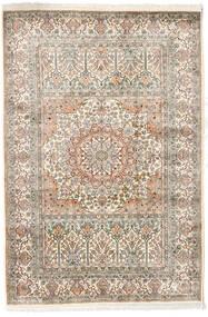 カシミール ピュア シルク 絨毯 127X186 オリエンタル 手織り 薄い灰色/ベージュ (絹, インド)