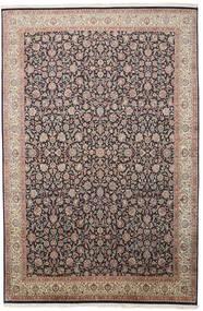 カシミール ピュア シルク 絨毯 211X319 オリエンタル 手織り 薄い灰色/黒 (絹, インド)