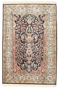 カシミール ピュア シルク 絨毯 81X120 オリエンタル 手織り ベージュ/濃いグレー (絹, インド)