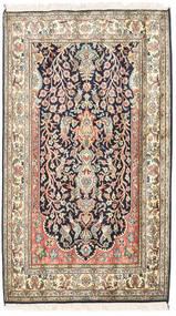 カシミール ピュア シルク 絨毯 83X126 オリエンタル 手織り ベージュ/濃い紫 (絹, インド)