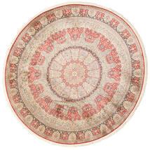 カシミール ピュア シルク 絨毯 Ø 247 オリエンタル 手織り ラウンド ライトピンク/ベージュ (絹, インド)