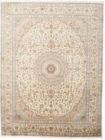 カシミール ピュア シルク 絨毯 243X319 オリエンタル 手織り 薄い灰色/ベージュ (絹, インド)
