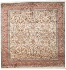 カシミール ピュア シルク 絨毯 247X253 オリエンタル 手織り 正方形 茶/薄い灰色 (絹, インド)