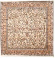 カシミール ピュア シルク 絨毯 247X253 オリエンタル 手織り 正方形 茶/ベージュ (絹, インド)