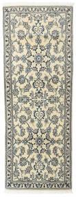 ナイン 絨毯 75X200 オリエンタル 手織り 廊下 カーペット 薄い灰色/ベージュ (ウール, ペルシャ/イラン)