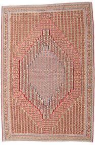 キリム センネ 絨毯 203X306 オリエンタル 手織り 深紅色の/薄茶色 (ウール, ペルシャ/イラン)