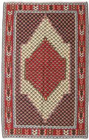 キリム センネ 絨毯 127X202 オリエンタル 手織り 濃い茶色/深紅色の (ウール, ペルシャ/イラン)