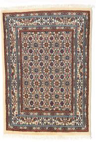 ムード 絨毯 62X85 オリエンタル 手織り ベージュ/濃い茶色 (ウール/絹, ペルシャ/イラン)