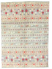 カザック 絨毯 142X199 オリエンタル 手織り ベージュ/薄い灰色 (ウール, パキスタン)