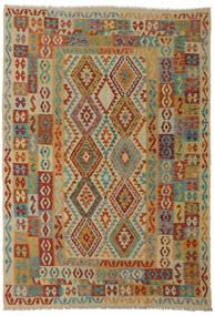 キリム アフガン オールド スタイル 絨毯 206X295 オリエンタル 手織り 深紅色の/薄茶色 (ウール, アフガニスタン)