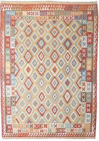 キリム アフガン オールド スタイル 絨毯 206X294 オリエンタル 手織り 薄い灰色/深紅色の (ウール, アフガニスタン)