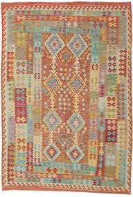 キリム アフガン オールド スタイル 絨毯 208X306 オリエンタル 手織り 薄茶色/暗めのベージュ色の (ウール, アフガニスタン)