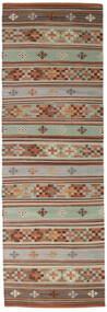 キリム Anatolian 絨毯 80X250 モダン 手織り 廊下 カーペット 濃い茶色/茶 (ウール, インド)