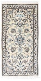 ナイン 絨毯 70X140 オリエンタル 手織り 薄い灰色/ベージュ/ホワイト/クリーム色 (ウール, ペルシャ/イラン)