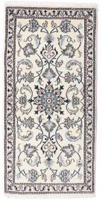 ナイン 絨毯 68X142 オリエンタル 手織り ベージュ/ホワイト/クリーム色/薄い灰色 (ウール, ペルシャ/イラン)