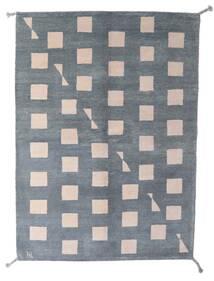 ギャッベ インド 絨毯 150X206 モダン 手織り 濃いグレー/水色 (ウール, インド)