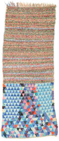 Berber Moroccan - Boucherouite 絨毯 82X220 モダン 手織り 廊下 カーペット ホワイト/クリーム色/ターコイズブルー ( モロッコ)