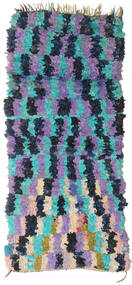 Berber Moroccan - Boucherouite 絨毯 100X230 モダン 手織り 廊下 カーペット 紺色の/紫 ( モロッコ)