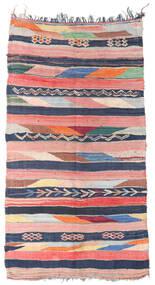 Berber Moroccan - Boucherouite 絨毯 158X309 モダン 手織り 廊下 カーペット ライトピンク/紺色の ( モロッコ)