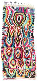 Berber Moroccan - Boucherouite 絨毯 132X298 モダン 手織り 廊下 カーペット 濃いグレー/ベージュ ( モロッコ)