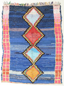 Berber Moroccan - Boucherouite 絨毯 172X220 モダン 手織り 青/紺色の ( モロッコ)