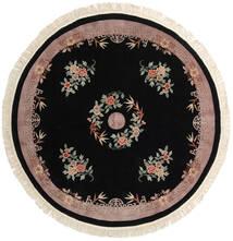 中国 90 Line 絨毯 Ø 244 オリエンタル 手織り ラウンド 黒/薄い灰色 (ウール, 中国)