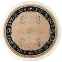 中国 90 Line 絨毯 Ø 244 オリエンタル 手織り ラウンド 薄茶色/ベージュ (ウール, 中国)